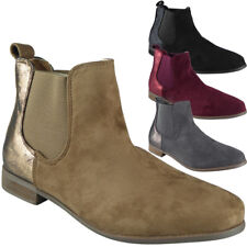 Womens Ladies Low Heel Work Chelsea Ankle Casual Faux Suede Boots Shoes Size