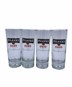 4 Gläser Pilavas Ouzo Original Lang Selten
