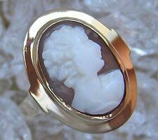 WOW ☺ Cameo Ring in from 14kt 585 GOLD WITH SHELL CAMEO Kamee Antique Cameo Antique