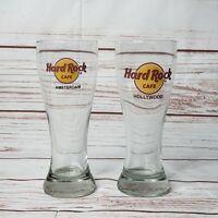 Rare Vintage Hard Rock Cafe Amsterdam Hollywood Lot of 2 Pilsner Beer Glasses