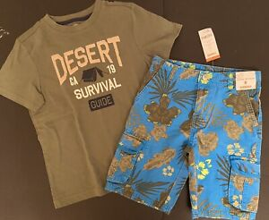 """NWT Boys 8 Gymboree """"DESERT DAY CAMP"""" Olive Green/Blue Hawaii CARGO SHORTS & TOP"""