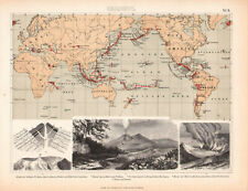 1870. Antique map. MAP OF THE ACTIVE VOLCANOES.