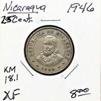 1946 Nicaragua 25 Centavos Coin, KM# 18.1, XF