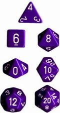 Chessex Dice Polyhedral 7 Die Set - Opaque Purple / White - DND / Roleplay etc