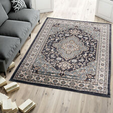 Area Rug Black Oriental Design Traditional Carpet Living Room Small Extra Large