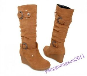 New Fashion Womens Mid Calf Boots Faux Suede Wedge Heels Buckle Rivet Shoes Size