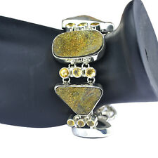 Druzy gemstone Women Jewelry Bracelet 925 Sterling Silver with Citrine 8""