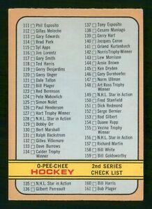 CHECKLIST CARD 2 *UNMARKED* 1972-73 O-PEE-CHEE 1972-73 NO 19 VGEX+     56619