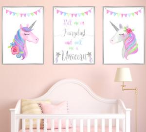 Silver Unicorn Nursery Prints Set of 3 Baby Girl Bedroom Art Pictures Decor Kids