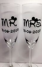 Mr & Mrs Disney Champagne Flutes, Disney, Date, Gift Set