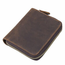 Men's Brown Leather Slim Wallet Coin Pouch Small Credit Card Holder Zip Around