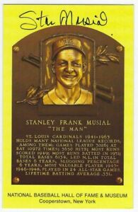 Stan Musial Autographed Signed Hall Of Fame Postcard  w/JSA COA MLB Cardinals