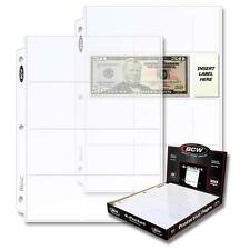 1 Box of 100 BCW 4 Pocket Pages Currency Coupon Organizer Holders Sheets