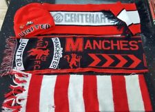 Manchester United Knitwear. 3 Scarves and a Woolly Hat with Cantona Pin