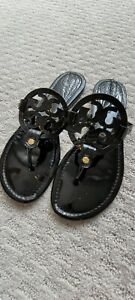 Tory Burch Miller Black Patent Leather Sandals Sz 9 $245
