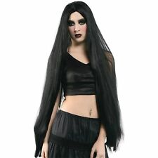 "HALLOWEEN HORROR LONG BLACK 40"" WIG Ladies Womens Fancy Dress Costume"