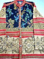 Sag Harbor Brown Red Black Tapestry floral Boho Jacket Button Front Size 14