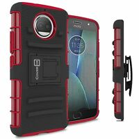 Red / Black Belt Clip Holster Phone Cover Case for Motorola Moto G5S Plus