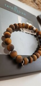 TATEOSSIAN LONDON Brown Matte Tiger Eye Stainless Steel Bracelet RRP £125