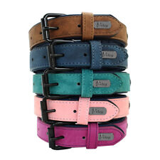 Pet Dog Leather Collar Soft for Small Medium Large Dogs Labrador Pink Blue S-2XL