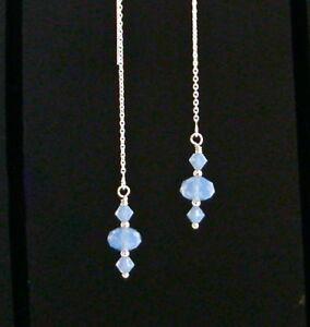 *IAJ* STERLING SILVER Ear Threader Earrings w/ AIR BLUE OPAL SWAROVSKI CRYSTALS