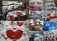 THE COTTON TOUCH 3D HD QUALITY 4PC COMPLETE SET FITTED SHEET DUVET QUILT COVER
