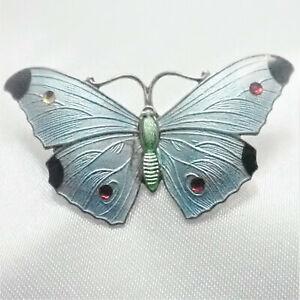 Art Deco 1915  Sterling Silver Enamel Butterfly Brooch- JA&S