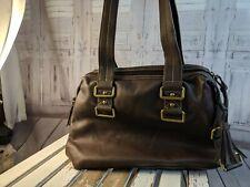 Nine west tote bag handbag travel carry on shoulder brown tan buckle