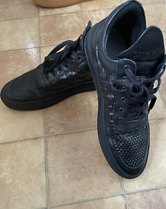 Filling Pieces Mens Black Leather Trainers, Size 44 (UK 10), Excellent Condition