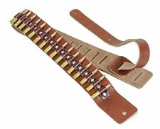 "2 1/4"" Wide .223 Brass Real Bullet Tan Saddle Classic Guitar Strap"