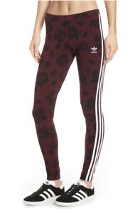 Adidas Originals NWT Maroon Animal Leopard Print Leggings in Size XS      YB21