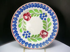 Petrus Regout Maastricht Holland Spongeware Rose Floral Luncheon Plate 9 inches