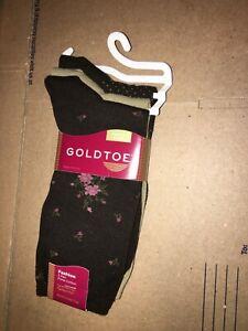 Gold Toe Womens Fashion Pima Cotton Socks 3 Pair Black Floral Dots Tan Sz 9-11