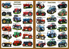TWO A4 LAMINATED POSTERS..... Vintage and Modern Tractors 34 models