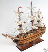 """HMS Victory Tall Ship Wooden Scale Model Sailboat 30"""" Fully Assembled Boat New"""