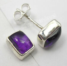925 Sterling Silver Fancy PURPLE AMETHYST UNISEX Studs Earrings Pair 0.8 CM NEW