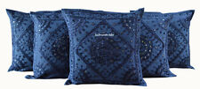 "MIRROR WORK CUSHION COVER ETHNIC DECOR ART NEW HOME HANDMADE 16X16"" SET OF 5"