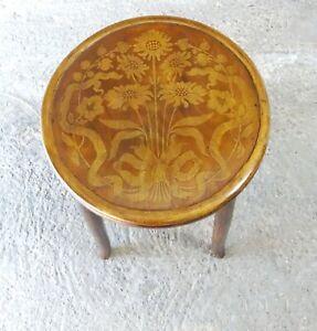 Tabouret de Mundus assise bois fleurie Art nouveau 1910 (no Thonet )