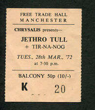 1972 Jetrho Tull Tir Na Nog Concert Ticket Stub Manchester UK Thick As A Brick