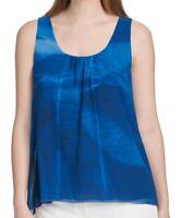 DKNY Women's Blouse Blue Size Medium M Watercolor Print Pleat Neck $59 #278