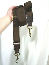 J. Crew Brown Cotton Canvas Leather Brass Hardware Replacement Shoulder Strap