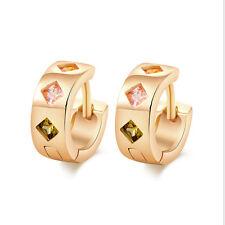 Gold Plated Multicolor Cubic Zirconia CZ Rhombus Hoop Huggie Earrings for Women