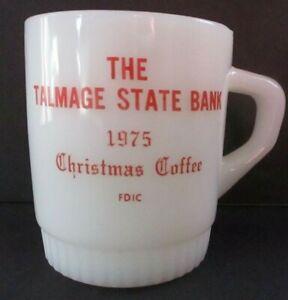 Fire King AH Advertising Mug Talmage State Bank 1975 Christmas Coffee EUC Kansas