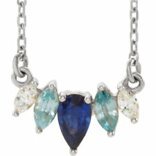 multi-gemstone & .07 CTW Diamante curvada barra Collar en platino