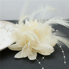 Beige Bridal Bridesmaid Wrist Corsage Hand Flowers with Feather Wedding Deco