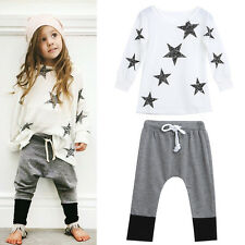 2PCS Kids Baby Girl Clothes Outfit Long Sleeve Star T-shirt Tops+Floral Pants UK