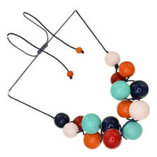 Gorgeous Adjustable Cord Cluster Necklace with Glossy Red, Orange and Mint Re...