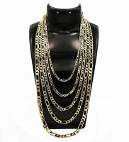 New 14k Italian Figaro Link Chain Necklace Bracelet 3mm to 7mm Gold Plated