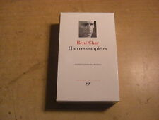 RENE CHAR OEVRES COMPLèTES PLEIADE GALLIMARD CLASSICI LINGUA FRANCESE POESIA