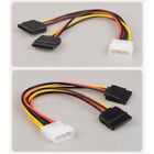 IDE Molex 4PIN To Y Spliter Convert Double 15Pin SATA Power Adapter Cable Cord